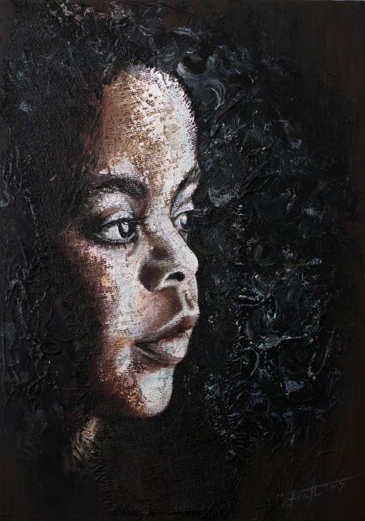 """Naomi"",Original  acrylic painting on canvas and sack 70x100x2cm - Image 0"