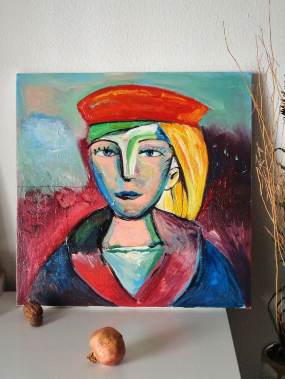 girl with red beret (inspired by Picasso) - Image 0