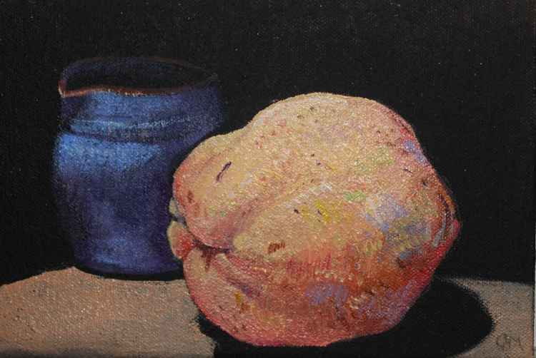 Quince with blue jug Day#88/365 Postcards from Pembrokeshire -