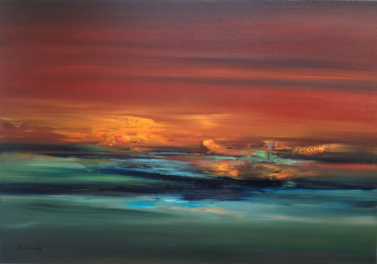 Silence of the Night - 70 x 100 cm, abstract landscape oil painting, earth tone colors, tranquil painting - Image 0