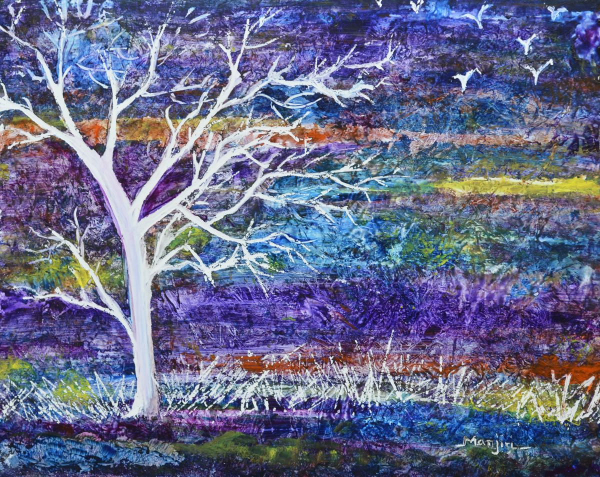 purple landscape abstract tree 2012 acrylic painting by