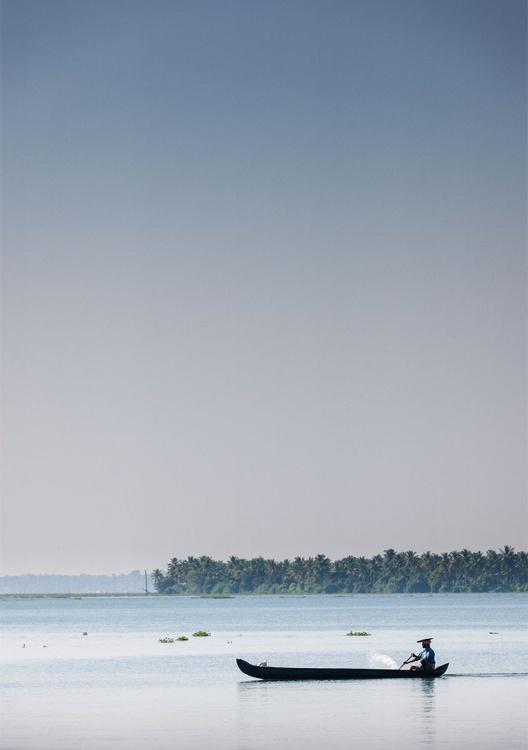 Fisherman, Kerala Backwaters. (42x59cm) - Image 0