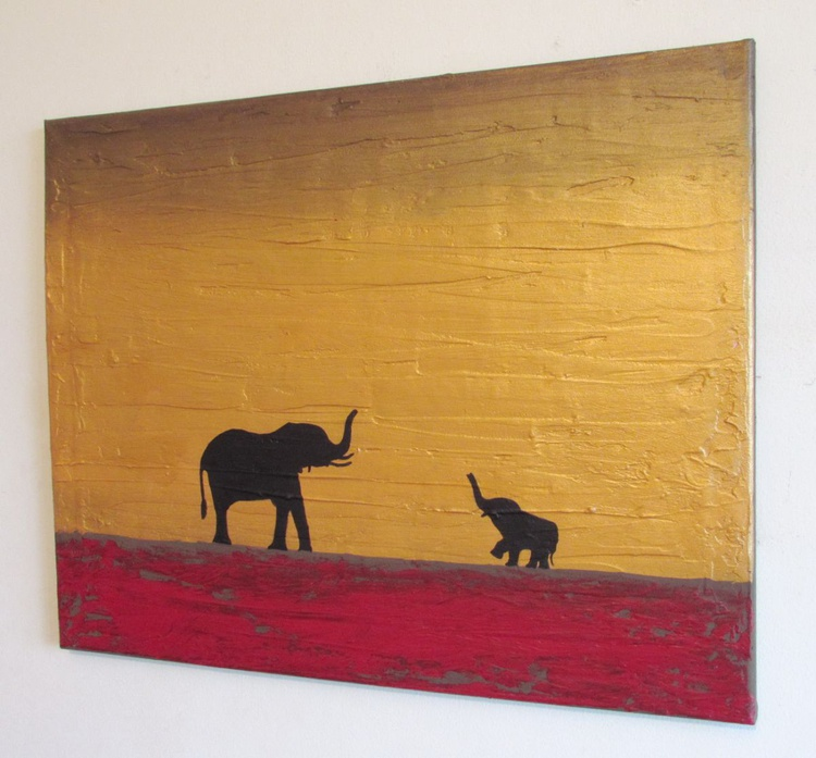 """original abstract landscape """"elephants, at sunset"""" africa animal painting art canvas -16 x 20"""" 3 other sizes available - Image 0"""