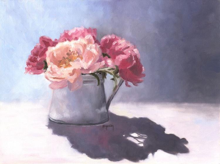 Peonies, flowers original oil painting - Image 0