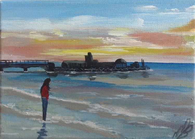 Bournemouth Pier on a mini canvas - Image 0