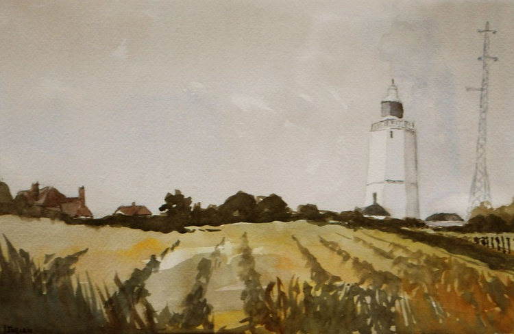Lighthouse at North Foreland, Kent - A Large original watercolour painting of a popular place! - Image 0