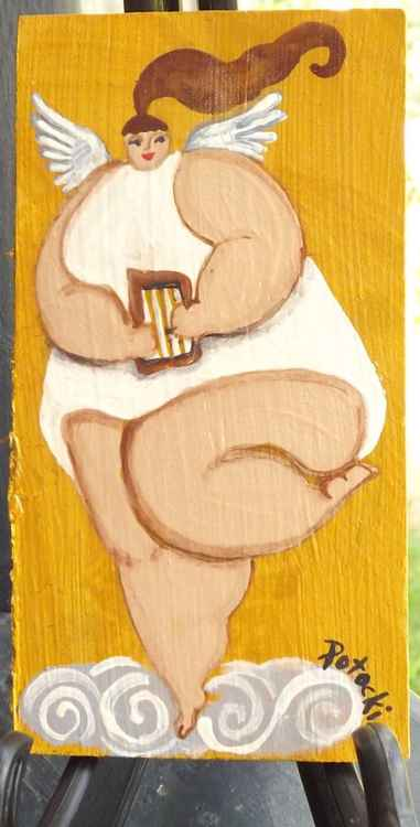BBW Angel with a harp Original Painting on Wood
