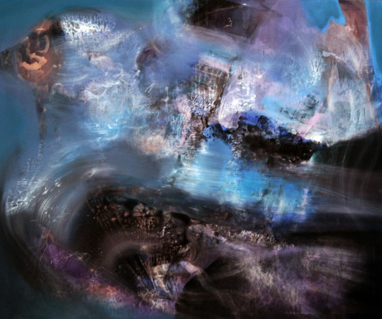HUGE XXL FANTASTIC DREAMSCAPE BY MASTER KLOSKA THERE WHERE THE TIME HAS LIGHT SHAPES DIAPHANE ONIRIC COSMIC SCAPE - Image 0
