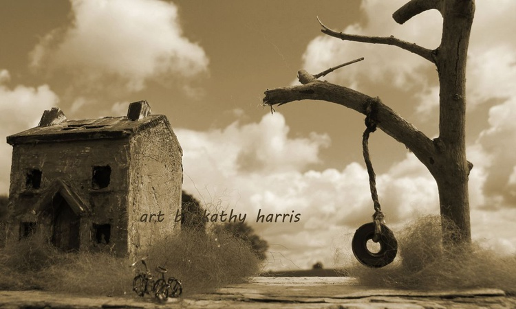Sculpture art photo of derelict house with kids bike - Image 0