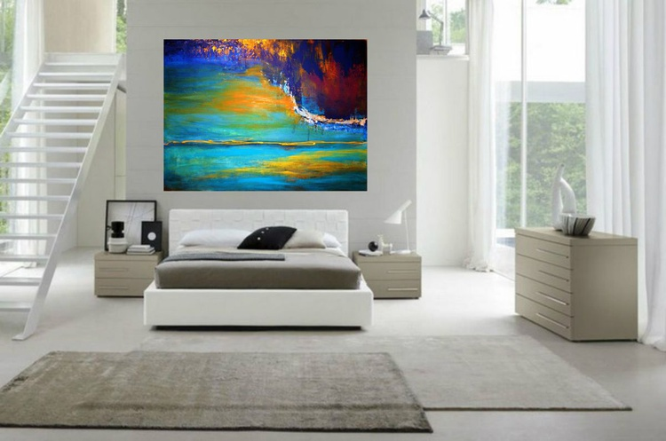 """""""Our chemicals"""" Large blue turquoise abstract seascape - Image 0"""