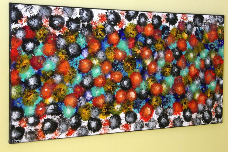 """VINTAGE SPRINGS #2 - LARGE ORIGINAL ABSTRACT PAINTING, 42""""X 20"""" VINTAGE HOME DECOR - Image 0"""