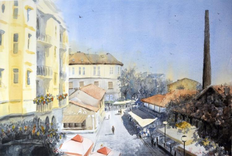 Red View Skadarlija - original watercolor art by Nenad Kojić - Image 0
