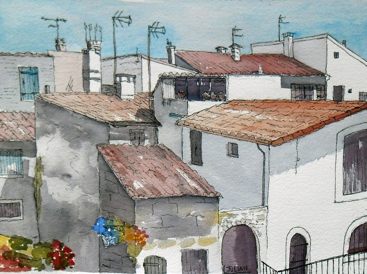 Rooftops at Arles, France an original Ink and watercolour painting - Image 0