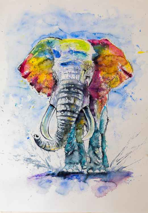 Big colorful elephant II (100 x 70cm) -