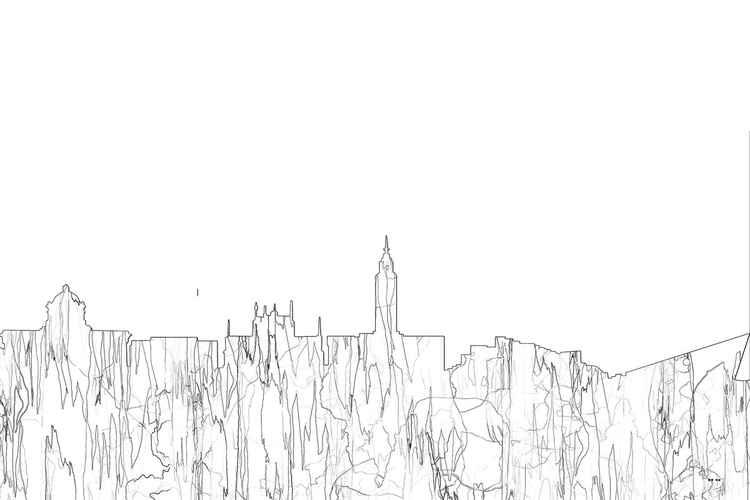 Kingston Upon Hull, UK Skyline - B&W - Thin Line -