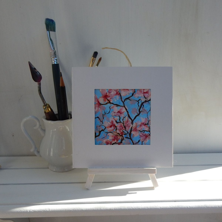 Cherry Blossom. Miniature. Easel is included. Gift painting. Ready to hang. - Image 0