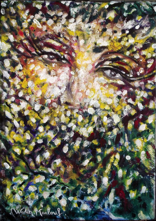 FOLIAR FEMININ LOOK (Foliar Portray) - Illusionistic figure-Extracting shapes and forms from Lebanese nature - 50x70 cm - Image 0