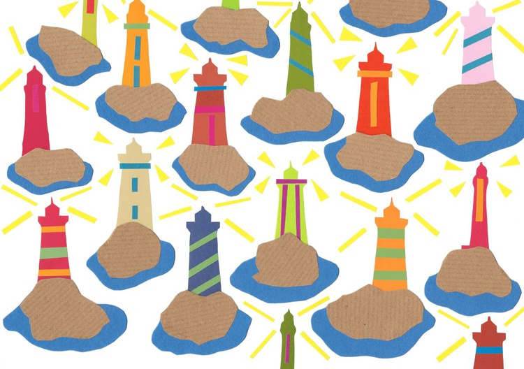 Light Houses (Hand-Cut Collage picture) - Image 0
