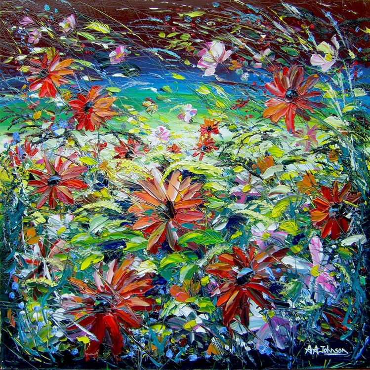 """Oil painting of flowers - """"Flower Surge"""" - Image 0"""