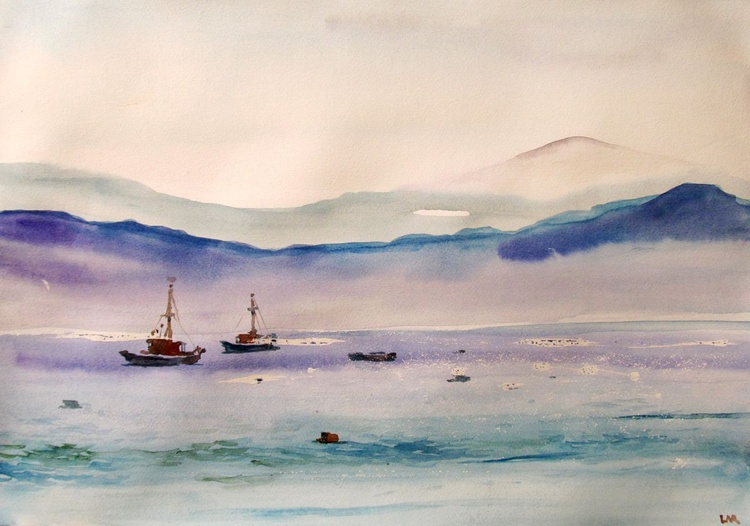 Landscape with the boats - Image 0