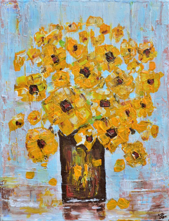 Yellow Flowers-Deep edge canvas ready to hang - Image 0