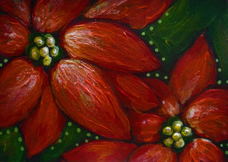 MINIATURE RED POINSETTIA FLOWERS PAINTING - Image 0