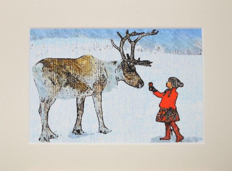 Reindeer & Girl Original Etched Ink On Canvas Artwork - Image 0