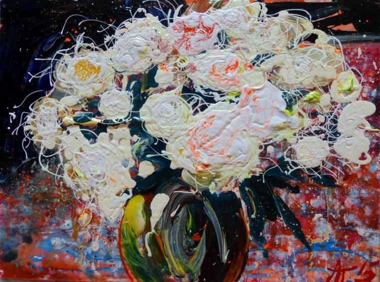 White roses II, original painting 40x30 cm - Image 0
