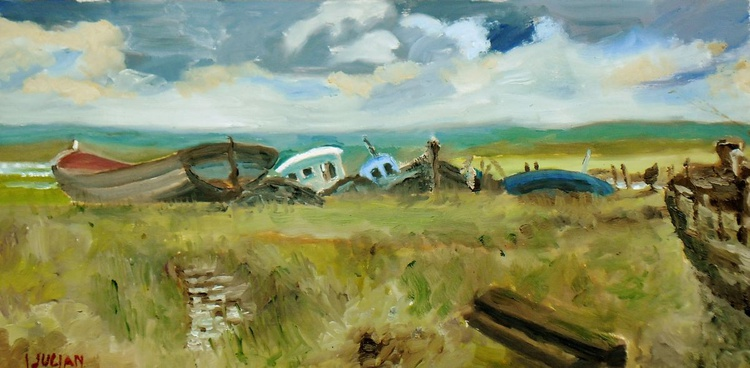 Decaying boats at Hoo, Kent - A line of old redundant timber boats. An Original Oil Painting! - Image 0