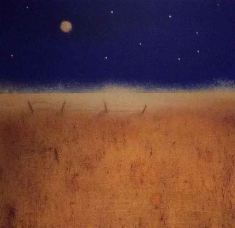 """ field and a golden moon ""Landscape 35x35cm -"