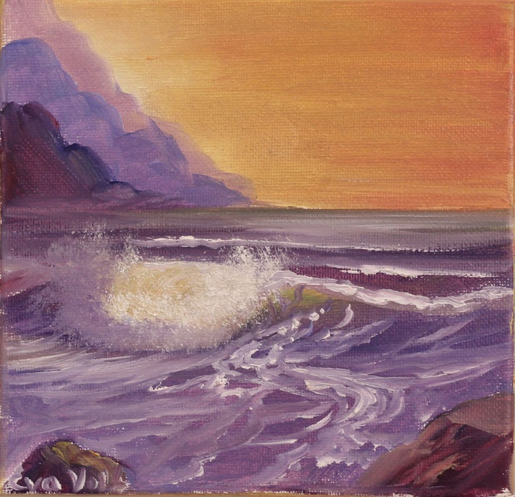 """Ocean Waves VI 6x6"""" small seascape oil painting on deep canvas - Image 0"""