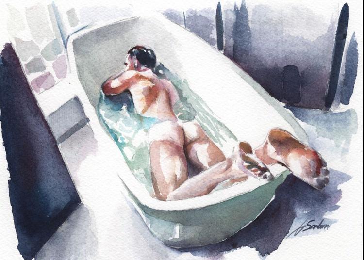 Nude Male Taking a Bath - Image 0