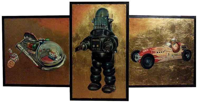Triptych of the tin toys