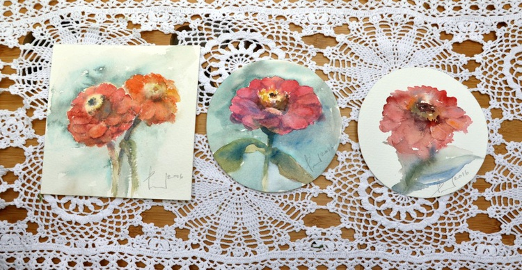MINIATURES  serie FLOWERS original watercolours - Image 0