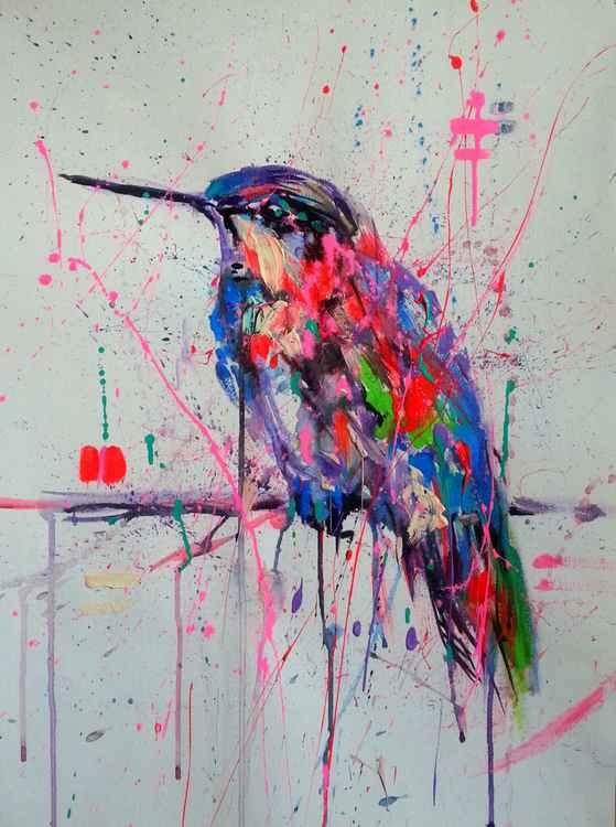 Bird in pink  rain