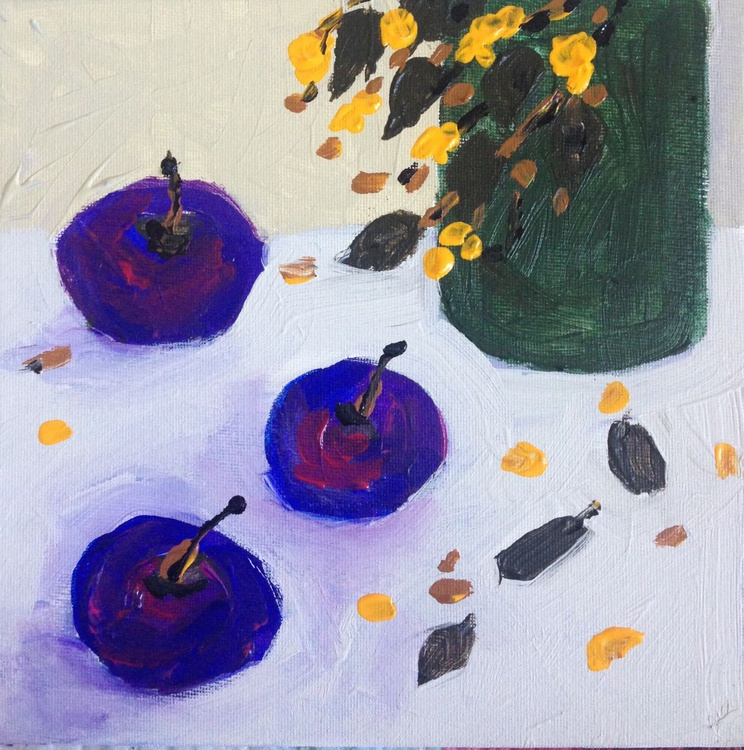Delicious Plums on Canvas board 8 x8 - Image 0