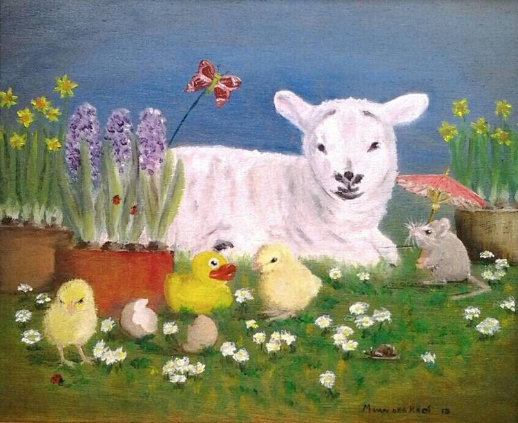 """Lamboree"", detailed fine art oil painting - Image 0"