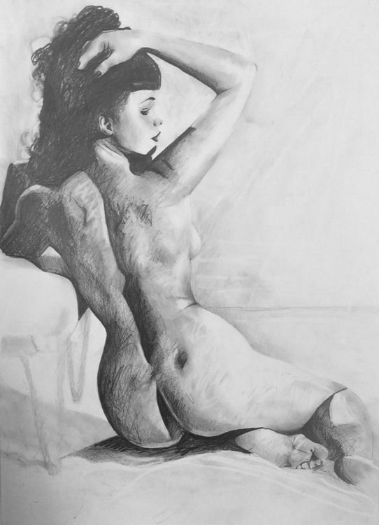 Film Noir Nude - original pencil drawing on paper - Image 0