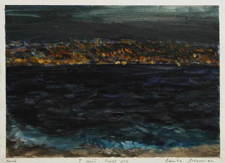 In the Night – V noči, 2016, acrylic on paper, 24 x 33 cm -