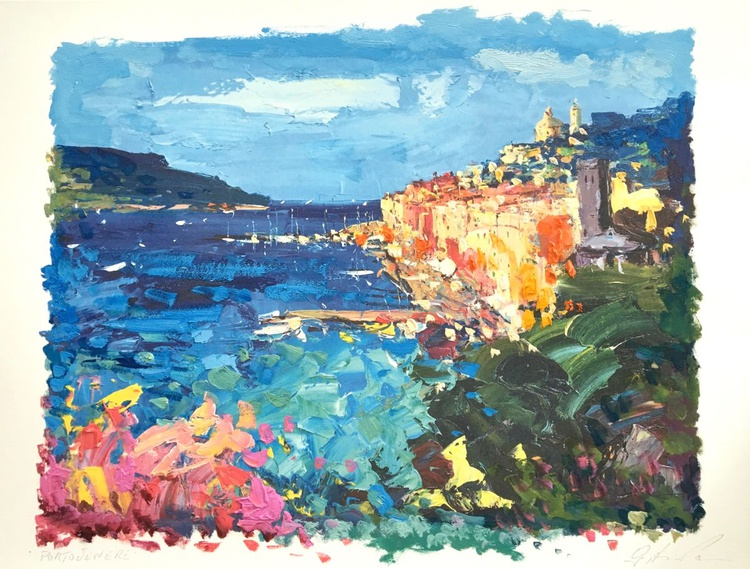 Portovenere Artwork, Cinque Terre Italy Art, Seascape Art, Italy Coast, Italy Landscape, Wall Art Abstract, Italian Home Decor, Fishing Village, Coastal Decor, Kitchen Decor, Bedroom Decor, Gifts for Men, Gift for Her, Gift for Women, Christmas Gifts - Image 0