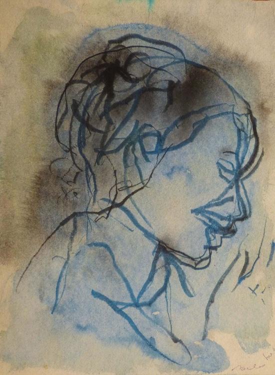 Blue Profile,  29x41 cm - Image 0