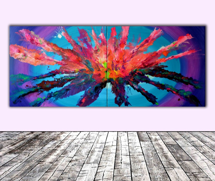 Opening Pandora - 240x100 cm XXXL Huge Modern Abstract Big Painting, Large Painting - Ready to Hang, Hotel and Restaurant Wall Decoration - Image 0
