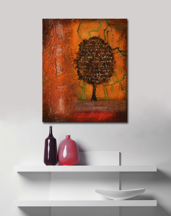 Spirit of Trees - mixed media red abstract tree painting (2014) - Image 0