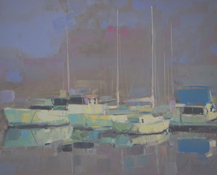 Marina Del Ray  Original oil painting  Handmade artwork One of a kind - Image 0