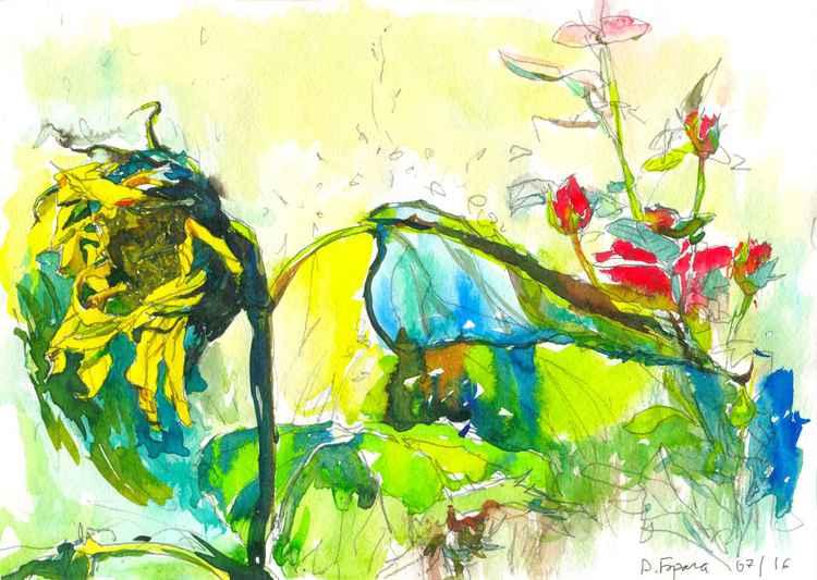 Sunflower&Roses, ink
