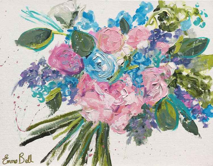Pink and blue bouquet I