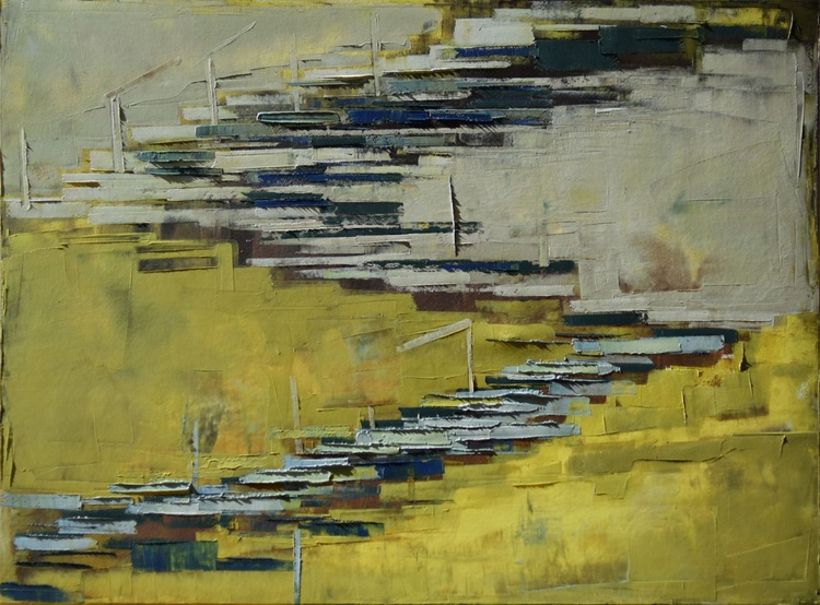"""Abstract painting """"Interior city 09"""". Oil painting on cotton canvas. 60/80 cm - Image 0"""