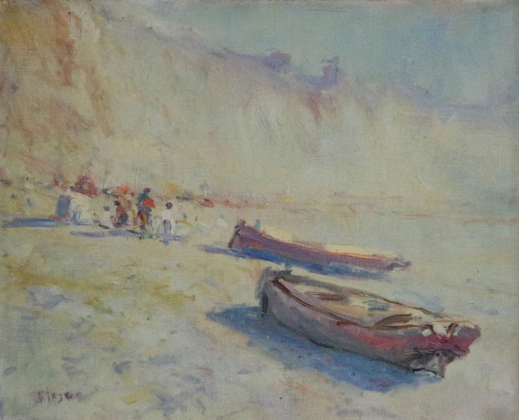 Fishing Boats, Seascape Original oil Painting,Handmade art, Impressionism, One of a Kind - Image 0