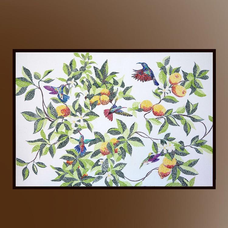 Flying hummingbirds on the tree - Image 0