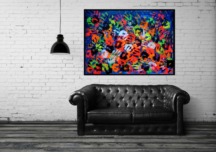 Colorful hands, large painting 100x70 cm - Image 0